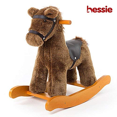 Hessie Modern Plush Rocking Horse with Soft Cute Stuffed Animal, Indoor Ride On Toys Rockers for Toddlers Kids Little Boys & Girls (6-36 Months) - Knight -