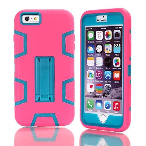 iPhone 6 / 6S Plus Shockproof Custodia,Heavy Duty Rosso PU & PC Urti Assorbimento Case Robusto Back Paraurti Caso Armatura ibrida Kickstand Protettiva Case Shell Cover per iPhone 6 / 6S Plus