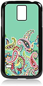 Mint Green and Paisley - Case for the Galaxy S5 i9600-Hard Black Plastic Outer Shell with Inner Soft Black Rubber Lining