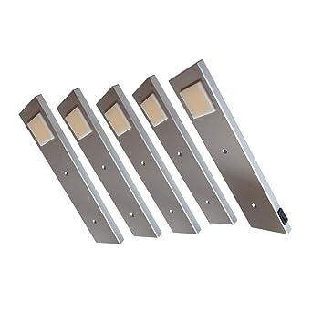 ACCE LED Unterbauleuchte Küchen Möbel Leuchte Neutralweiß inkl Konverter  ein Strahler mit Schalter Energieeffizienzklasse A++ (5er Set)