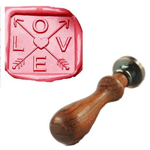 - MDLG Vintage Square Love Arrow Custom Picture Logo Wedding Invitation Wax Seal Sealing Stamp Rosewood Handle Set