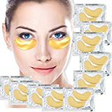 Set of 10 Pairs Eyes 24 K Gold Golden Collagen Gel Crystal Masks Patches Pads for Anti Aging Treatments, Wrinkles Crows Feet, Dark Circles and Puffiness Puffy Eyes Removal and Moisturizing