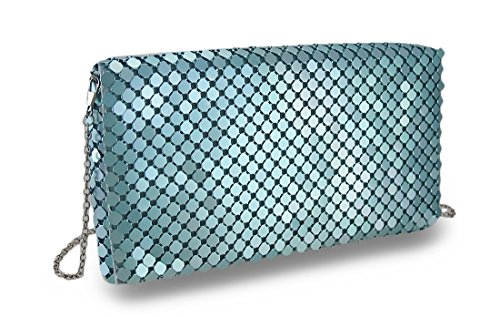 Mesh Metallic Evening Bag (Vinyl Womens Clutch Handbags Turquoise)