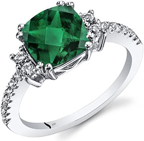 14K White Gold Created Emerald Ring Cushion Checkerboard Cut 2.00 Carats Sizes 5 to 9