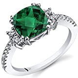 14K White Gold Created Emerald Ring Cushion Checkerboard Cut 2.00 Carats Size 5