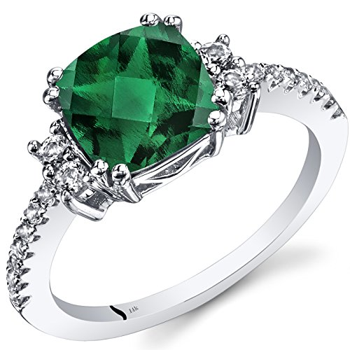 14K White Gold Created Emerald Ring Cushion Checkerboard Cut 2.00 Carats Size 6 ()