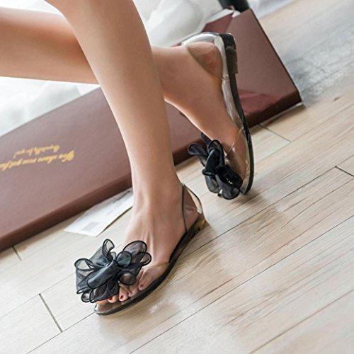 Ouneed® Damen Sandalen , Damen Sommer Flip Flops Bogen Blumen Gelee Strand Sandelholze Flipflops flache Schuhe Hausschuhe (40, Schwarz)