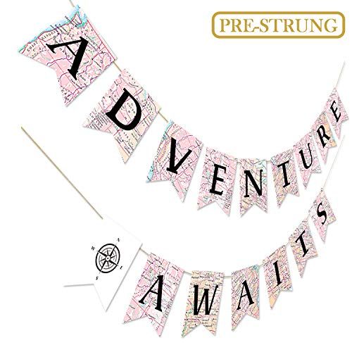 Adventure Awaits Bon Voyage Banner, Travel Themed Party Decorations, Retirement /Baby Shower/Graduation Map Banner, Moving/Relocation/Wedding/Bachelorette/Job Change/Farewell/Career Change Party Decorations