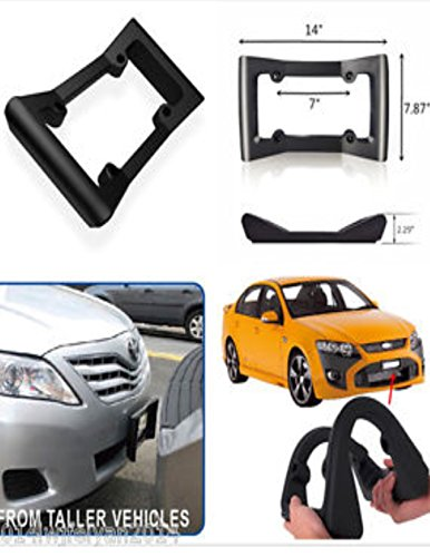 Shock Plate (APSG Front Car Bumper Protecter, Ultimate Front Bumper Guard. Front Bumper Protection License Plate Frame. Tougher Than Steel !FOUR HOLE MOUNTING ONLY)
