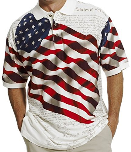 Cotton Traders Allover Patriotic Polo Shirt (XLarge, BENJI-31)