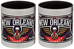 NBA New Orleans Hornets Stainless Steel Can Holder with Hi-Definition Metallic Graphics Set (2-Piece), Silver