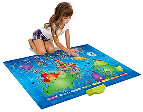 Push-To-Talk Kids World Map - Learn Over 1000 Facts & Quizzes About 92 Countries, Fun & Educational (Educational Toys Kindergarten)
