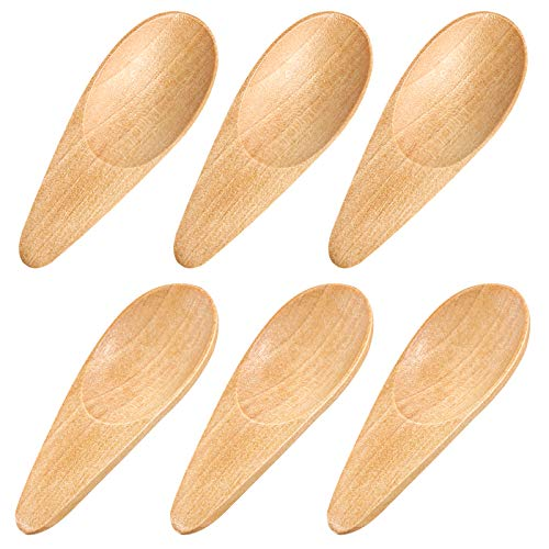 HANSGO 6PCS Wooden Scoop Solid Wood Condiment Spoon Mini Wood Salt Spoon with Short Handle for Loose Tea Leaves, Coffee Bean, Candy, Milk Powder, Spice, Ice Cream, Natural Color