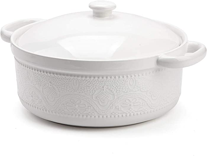 "Casserole Dish with Lid,1.8 Quart Ceremic Casserole Pan with Lace Emboss for Bakeware Oven (11"")"