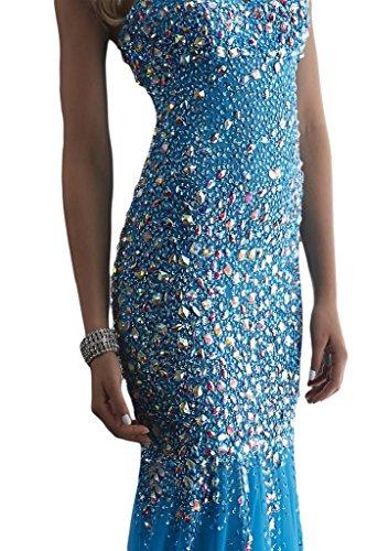 Robe De Réception Rhinstore Mariée Ange Mariage Sirène Robes De Célébrité En Mousseline De Soie Bleu