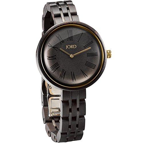 Band Bezel Wrist Watch (JORD Wooden Wrist Watches for Women - Cassia Series / Wood and Metal Watch Band / Wood Bezel / Analog Quartz Movement - Includes Wood Watch Box (Ebony & Sable))