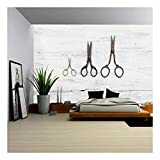 wall26 – Three Scissors on White Wooden Table – Removable Wall Mural | Self-adhesive Large Wallpaper – 100×144 inches For Sale