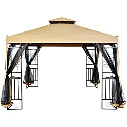 LCH 10 x 10 ft Outdoor Gazebo 2-Tier Soft Top Canopy, Heavy Duty Steel Frame Sun Shelter with Zippered Mosquito Netting, Beige