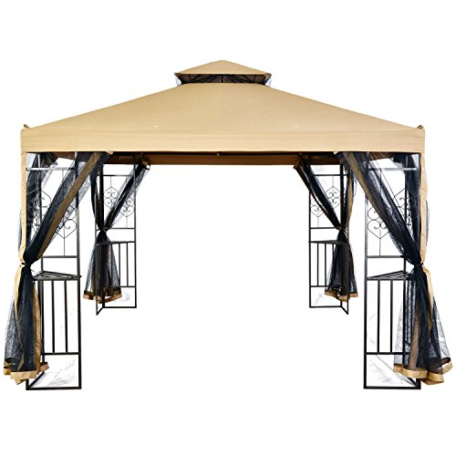 LCH 10 x 10 ft Outdoor Gazebo 2-Tier Soft Top Canopy, Heavy Duty Steel Frame Sun Shelter with Zippered Mosquito Netting, Beige (Gazebo 2 Tier)