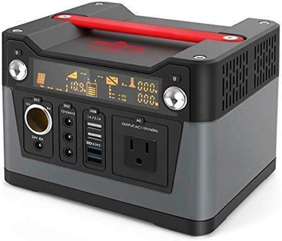 Generador Solar Portátil, con batería de Litio de 288 WH, Toma de CA de 220 V / 300 W y 4 X USB, 3 Puertos de CC de 12 V / 24 V y Linterna LED, para Acampar al Aire Libre en el hogar