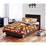 4 Piece NCAA University of Texas Longhorns Comforter Twin Set, Sports Patterned Bedding, Featuring Team Logo, Fan Merchandise, Team Spirit, College Foot Ball Themed, Brown Multi, For Unisex