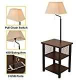 Wayking Floor Lamp Attached with Two-Tier End Table and Swing Arm, Combination Brown Tray table Lamp with Three 5V/3A USB Charging Ports, White Fabric Shade