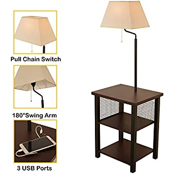 Brightech Madison Led Floor Lamp Swing Arm Lamp W Shade Amp Built In End Table Amp Shelf Includes