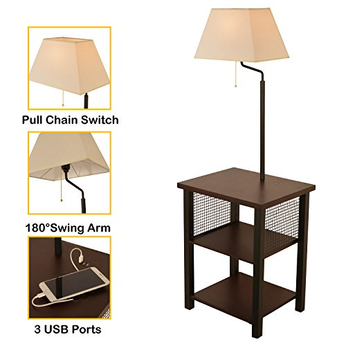Wayking Floor Lamp Attached with Two-Tier End Table and Swing Arm, Combination Brown Tray table Lamp with Three 5V/3A USB Charging Ports, White Fabric Shade by Wayking