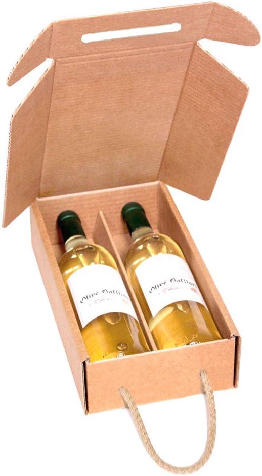 Kartox | Estuche de Cartón para 2 Botellas de Vino | Estuche Horizontal de Cartón con Asa | 10 Unidades