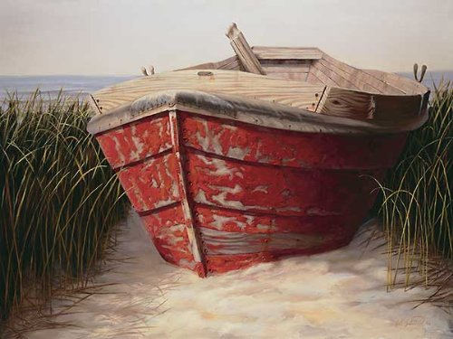 Red Boat by Karl Soderlund Coastal Boats Beaches Print Poster (Choose Your Size) Karl Soderlund Red Boat