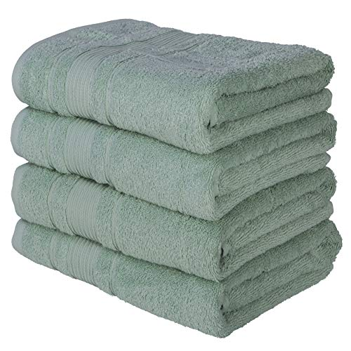 Qute Home Towels 100% Turkish Cotton Green Bath Towels Set | Super Soft Highly Absorbent | Spa & Hotel Towels Quality Quick Dry Towel Sets for Bathroom, Shower Towel - (Bath Towel - Set of 4)