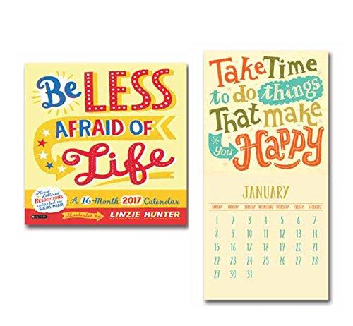 Orange Circle Studio 16-Month 2017 Wall Calendar, Be Less Afraid of Life (51205)