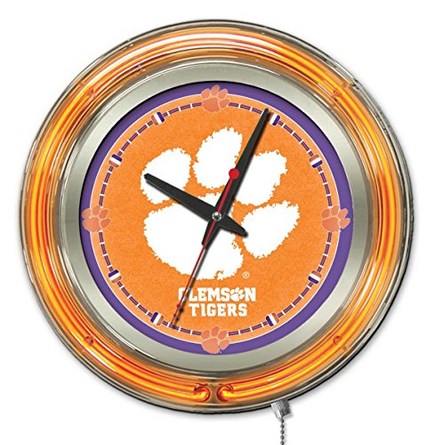 (Clemson Tigers HBS Neon Orange College Battery Powered Wall Clock (15
