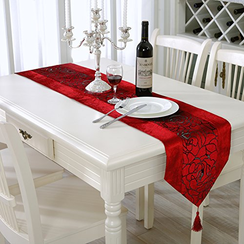 Aothpher Classic European Style Table Runner with Tassel, 13x70 inch, Red - Gray And Red Table Runner