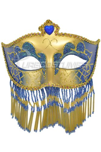Pure Seasons Soiree Spectaculaire Mask (Blue/Gold)-Standard (Carnavale Costumes)