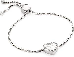 Michael Kors Heritage Pave Logo Heart Slide Bracelet Silver MKJX5390040