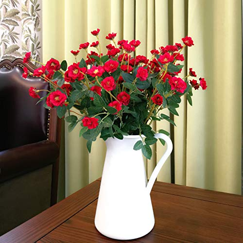 Homyux 5pcs Mini Roses Artificial Wildflowers Bouquet 20 Heads Real Looking Silk Rose Fake Flower Arrangements for Wedding and Home Decoration, Red (Mini Rose Bouquet)