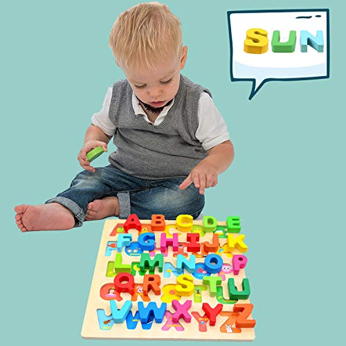 Wondertoys Wooden Alphabet Puzzle Board for 1 2 3 Years Old Girls Boys ABC Chunky Puzzles Educational Toys