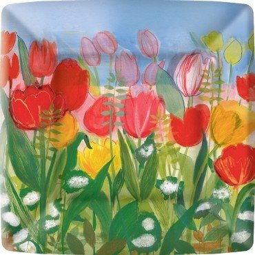 Ideal Home Range 8 Count Square Paper Plates, 10-Inch, Tulip Delight