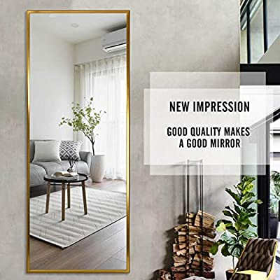 """self Full Length Floor Mirror 65""""x22"""" Large Rectangle Wall Mirror Standing Hanging or Leaning Against Wall for Bedroom, Dressing and Wall-Mounted Thin Frame Mirror - Black"""