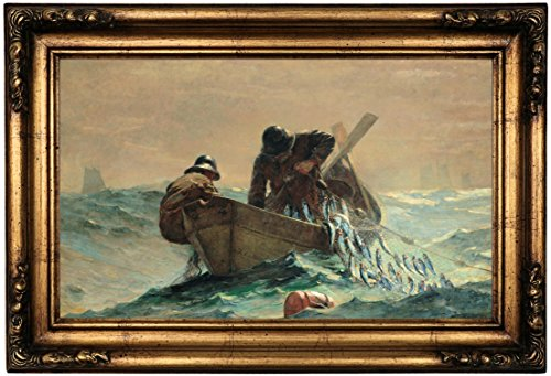 """Historic Art Gallery The Herring Net by Winslow Homer Framed Canvas Print 12"""" x 20"""" Gold Gallery"""