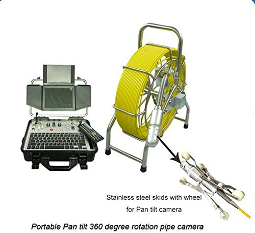 GOWE 360 degree rotate pan tilt sewer pipe inspection camera with 60m cable and stainless steel skid with wheel Sensor Size:1/4
