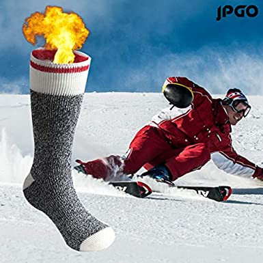 JPGO Winter Fur Lined Boot Thick Insulated Heated Socks For Cold Weather Thermal Socks Warm