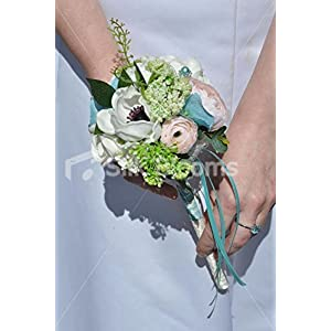 White Anemone, Pink Rose & Ranunculus Flowergirls Wedding Wand 28