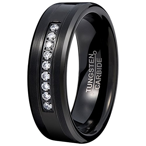 Wholesale Cubic Zirconia Costume Jewelry (Mens Black 8mm Tungsten Carbide Ring Vintage Cubic Zirconia Wedding Jewelry Engagement Promise Band for Him Matte Finish Comfort Fit Size 10.5)
