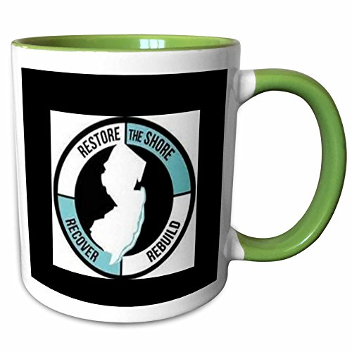 3dRose Xander inspirational sayings - restore the shore, circle with lettering and picture of new jersey - 11oz Two-Tone Green Mug - Outlets Jersey Shore New