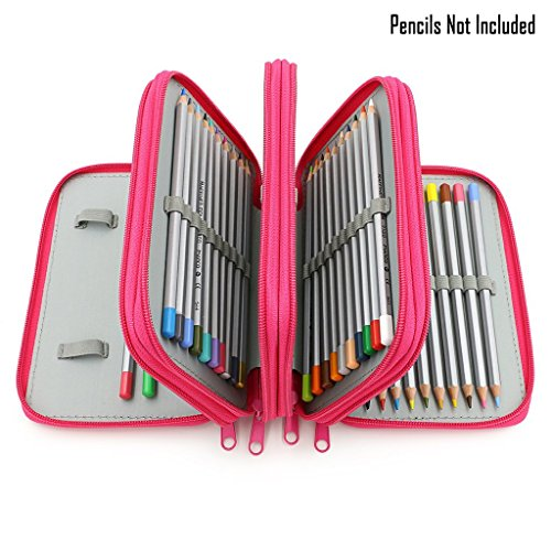 (CONBEE 72 Inserting Large Capacity Multi-layer Pencil Case Pouch for Colouring Pens and Pencils (Pencils Not Included) (Red))