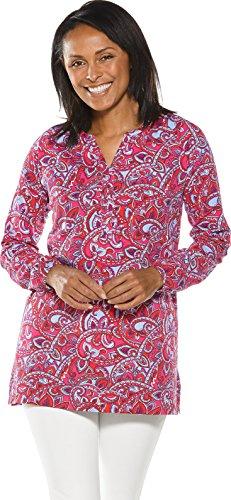 Coolibar UPF 50+ Women's Tunic Top - Sun Protective (Medium- Magenta Abstract - Wraps Bamboo Button