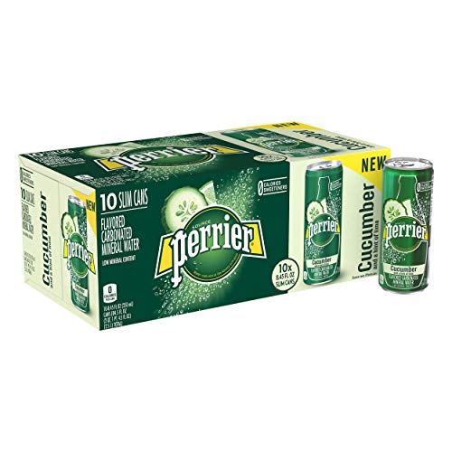Perrier Cucumber Lime Flavored Carbonated Mineral Water, 8.45 Fluid Ounce (Pack of 10) ()