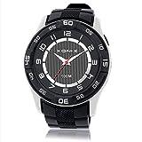 Men's or teens retro sports analog quartz watch,Cool large dial led 100 m waterproof swim resin strap outdoor fashion wristwatch-B